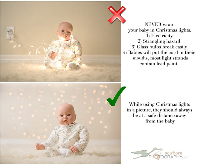 Baby With Christmas Lights Photo Christmas Lights Card And Decore - Baby With Christmas Lights