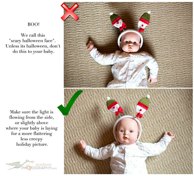 Christmas Baby Photo Tip - Light the baby from the side or top.